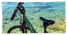 Bicycle By The Adriatic, Rovinj, Istria, Croatia Beach Towel