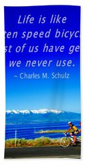 Bicycle Charles M Schulz Quote Beach Towel
