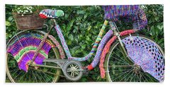 Bicycle In Knitted Sweater Beach Sheet