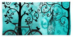 Bicycle In Whimsical Forest Beach Towel