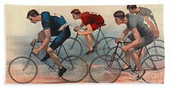Beach Sheet featuring the photograph Bicycle Lithos Ad 1896nt by Padre Art