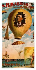 Beach Towel featuring the photograph Bicycle Parachute Act 1896 by Padre Art