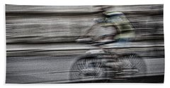 Bicycle Rider Abstract Beach Towel