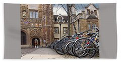 Bicycles At Trinity College Cambridge Beach Towel by Gill Billington