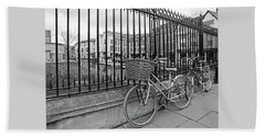 Beach Towel featuring the photograph Bicycles On Magdalene Bridge Cambridge In Black And White by Gill Billington
