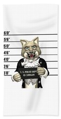 Beach Sheet featuring the digital art Big Bad Wolf Mugshot by Methune Hively
