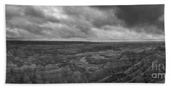 Big Badlands Overlook Panorama 2 Bw Beach Towel