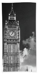 Big Ben And Clouds Bw Beach Sheet