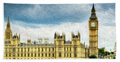 Big Ben And Houses Of Parliament With Thames River Beach Towel