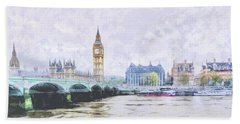 Big Ben And Westminster Bridge London England Beach Towel