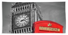 Big Ben Beach Sheet by Delphimages Photo Creations