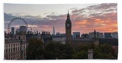 Big Ben London Sunrise Beach Towel by Mike Reid