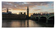 Big Ben London Sunset Beach Sheet by Mike Reid