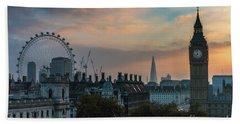 Big Ben Shard And London Eye Sunrise Beach Towel by Mike Reid