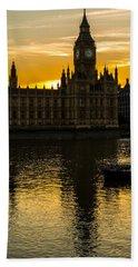 Big Ben Tower Golden Hour In London Beach Sheet