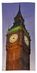 Beach Towel featuring the photograph Big Ben Twilight In London by Terri Waters