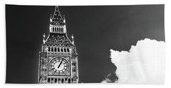 Big Ben With Cloud Beach Sheet