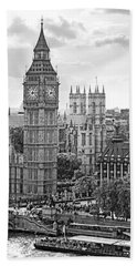 Big Ben With Westminster Abbey Beach Towel