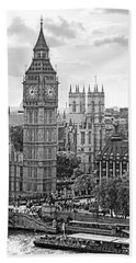 Big Ben With Westminster Abbey Beach Sheet
