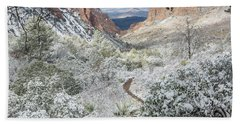 Big Bend Window With Snow Beach Towel