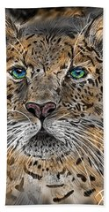 Beach Towel featuring the digital art Big Cat by Darren Cannell