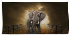 Beach Towel featuring the mixed media Big Entrance Elephant Art by Marvin Blaine