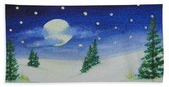 Big Moon Christmas Beach Towel