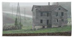 Big Old House In Fog Beach Sheet