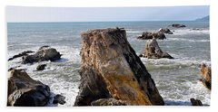Beach Sheet featuring the photograph Big Rocks In Grey Water by Barbara Snyder