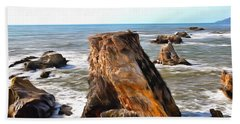 Beach Sheet featuring the photograph Big Rocks In Grey Water Painting by Barbara Snyder