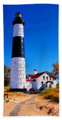 Big Sable Point Lighthouse Beach Towel by Nick Zelinsky