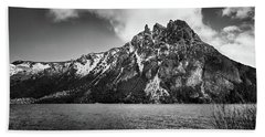 Big Snowy Mountain In Argentine Patagonia - Black And White Beach Towel