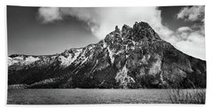 Big Snowy Mountain In Black And White Beach Towel