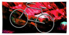 Beach Towel featuring the photograph Big Spring Bike Red by Lesa Fine
