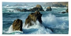 Big Sur Winter Wave Action Beach Sheet by Amelia Racca