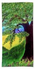 Beach Towel featuring the painting Big Tree In Meadow by Sonya Nancy Capling-Bacle