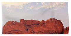 Big View Kissing Camels N Pikes Peak Beach Towel by Clarice Lakota