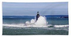 Big Wave Hits Ram Island Ledge Light Beach Towel