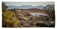 Bighorn Sheep And Mesa Arch Beach Towel