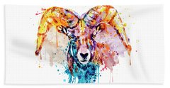 Bighorn Sheep Portrait Beach Sheet