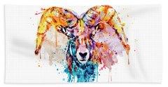 Bighorn Sheep Portrait Beach Sheet