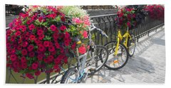 Bike And Flowers Beach Towel by Therese Alcorn