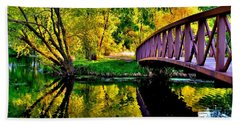 Bike Path Bridge Beach Towel