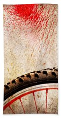 Bike Wheel Red Spray Beach Towel by Silvia Ganora