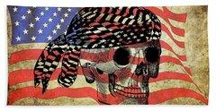 Biker Skull American Flag Old Paper Art Beach Towel