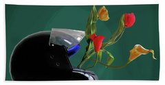 Bikers Helmet Beach Towel by Keshava Shukla