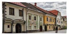 Beach Towel featuring the photograph Biking Through Radovljica - Slovenia by Stuart Litoff