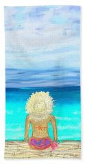 Bikini On The Pier Beach Towel by Jeremy Aiyadurai