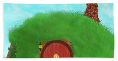 Beach Towel featuring the painting Bilbo's Home In The  Shire by Kevin Caudill