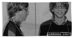 Bill Gates Mug Shot Horizontal Black And White Beach Sheet